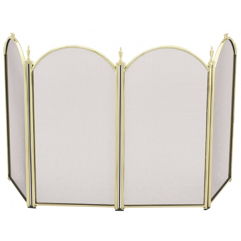 "4 Fold 25""H Mini Polished Brass Screen : Fire Pits & Fireplaces"