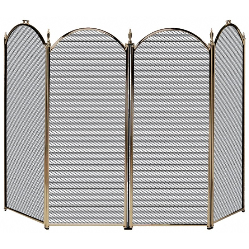 4 Fold Antique Brass Screen (S-4114)