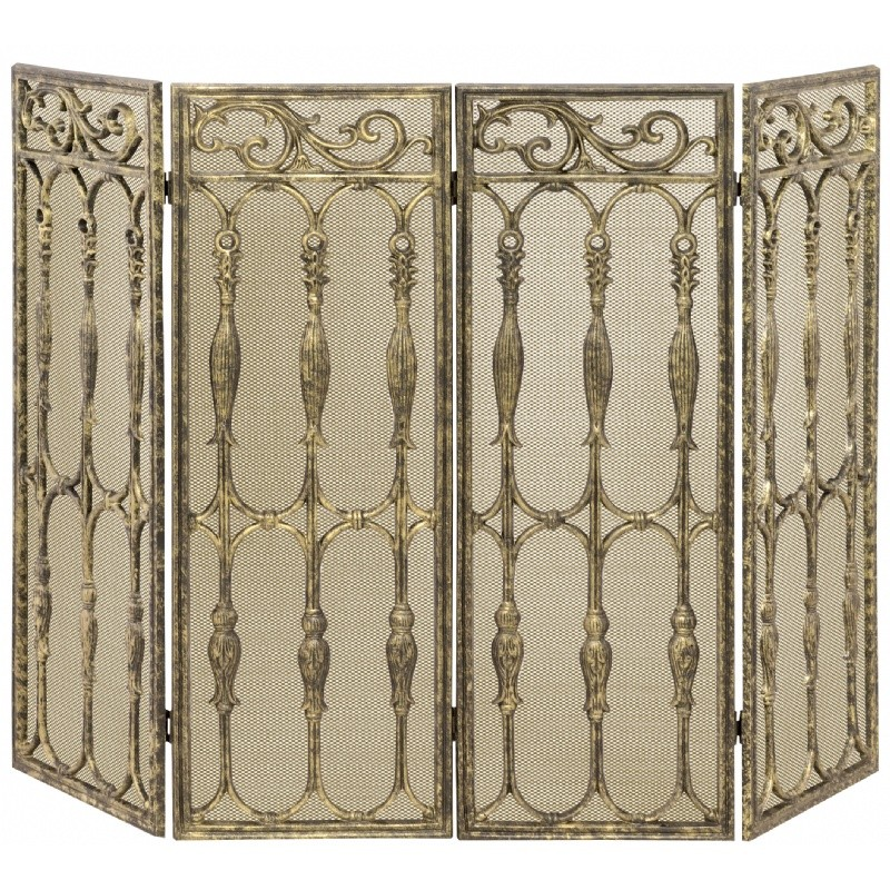 4 Fold Antique Gold Cast Aluminum Screen