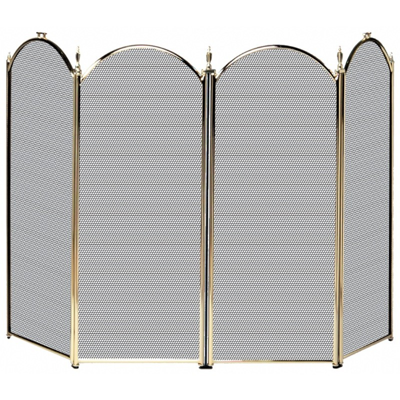 4 Fold Polished Brass Screen (S-2113)