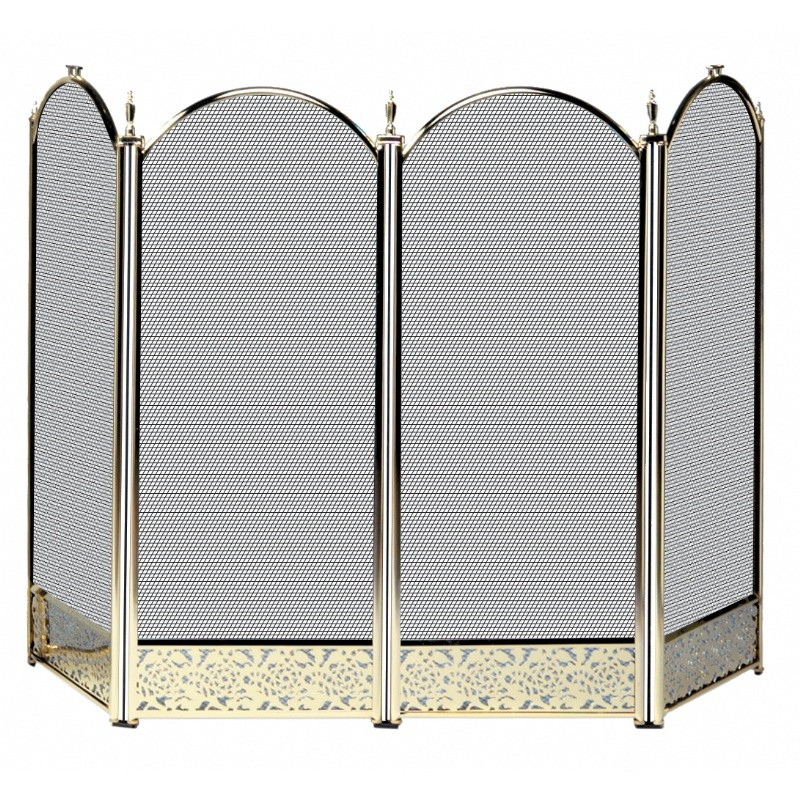 4 Fold Polished Brass Screen With Decorative Filigree