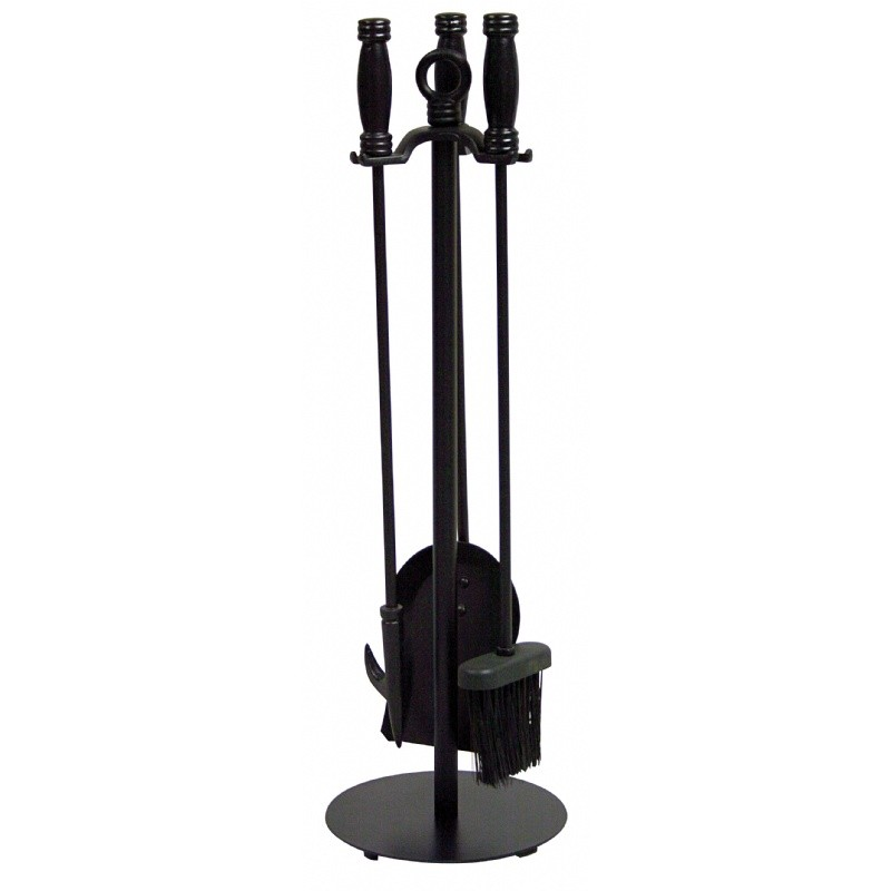 4 Piece Black Wrought Iron Fireset