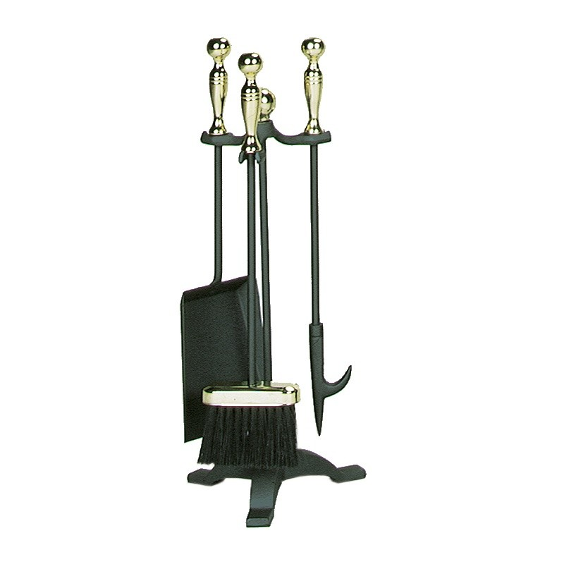 4 Piece Polished Brass / Black Fireset With Ball Handles (S-3692)