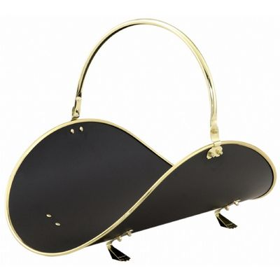 "21"" Polished Brass / Black Woodbasket With Polished Brass Trim BR-W-3326"