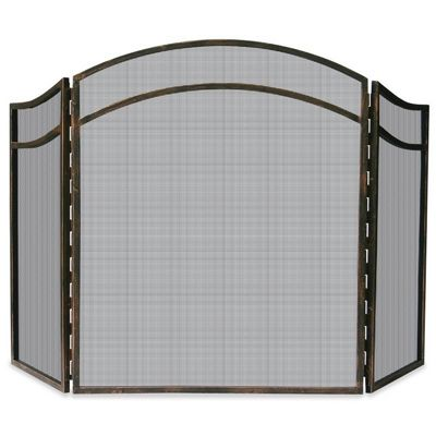 3 Fold Antique Rust Wrought Iron Arch Top Screen BR-S-1692
