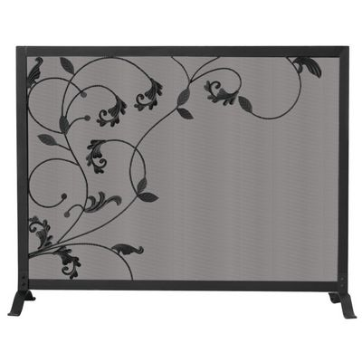 3 Fold Black Screen With Flowing Leaf Design BR-S-1043