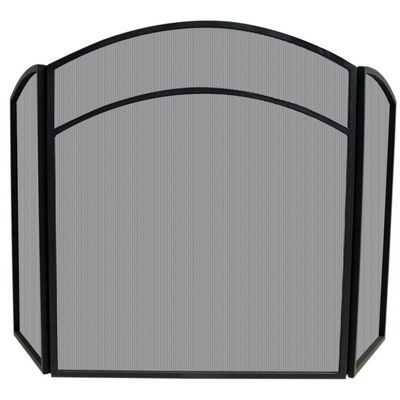 3 Fold Black Wrought Iron Arch Top Screen BR-S-1060