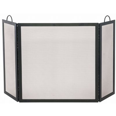 3 Fold Black Wrought Iron Medium Screen BR-S-1504