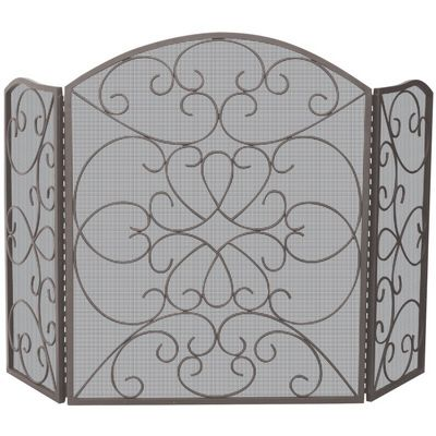 3 Fold Bronze Screen With Ornate Design BR-S-1600