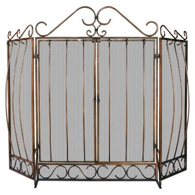 3 Fold Venetian Bronze Screen With Bowed Bar Scroll Work BR-S-1659