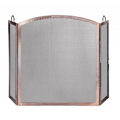 3 Panel Antique Copper Screen With Arched Center Panel BR-S-1307