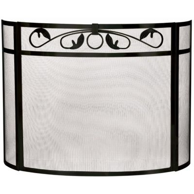 3 Panel Black W. I. Bow Screen With Top Scroll Design BR-S-1212