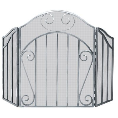3 Panel Heavy Pewter Screen With Decorative Scroll BR-S-1612