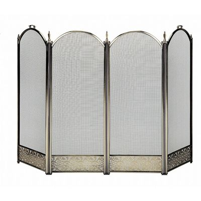 4 Fold Polished Brass Screen With Decorative Filigree BR-S-4645