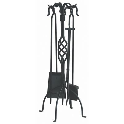5 Piece Black Wrought Iron Fireset With Center Weave BR-F-1053
