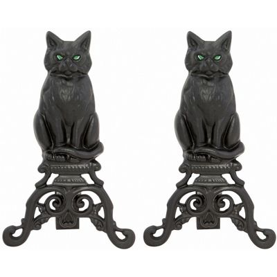 Black Cast Iron Cat Andirons With Reflective Glass Eyes BR-A-1251