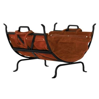 Black Wrought Iron Log Holder With Leather Carrier BR-W-1018