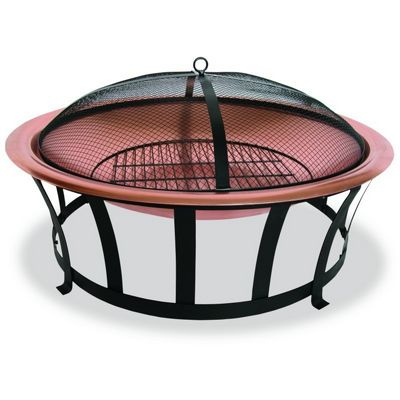 Copper fire pit 30 inch with screen brwad517a cozydays for Outdoor fireplace spark arrestor