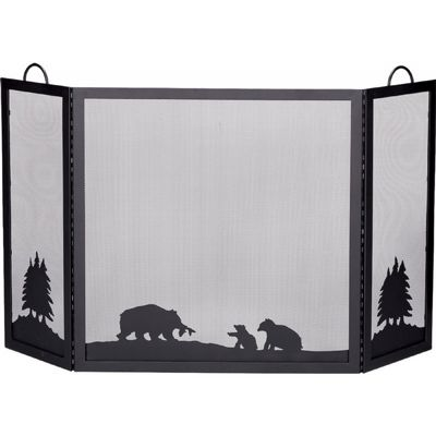 Deluxe 3 Panel Black Wrought Iron Screen With Hunting Bear Scene BR-S-1336