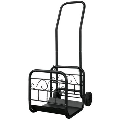Large Black Wrought Iron Log Rack With Wheel And Removable Cart BR-W-1058