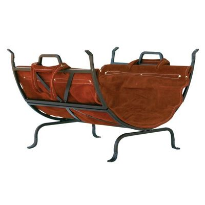 Olde World Iron Log Holder With Suede Leather Carrier BR-W-1189