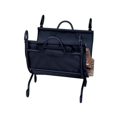 Ring Swirl Black Log Rack With Canvas Carrier BR-W-1125