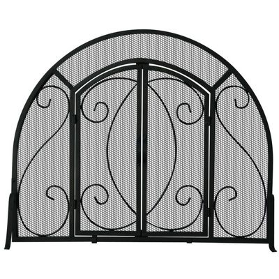 Single Panel Black Wrought Iron Ornate Screen With Doors BR-S-1096