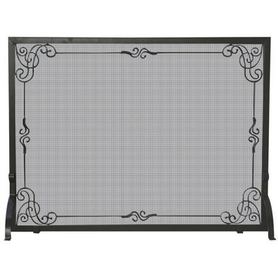 Single Panel Black Wrought Iron Screen With Decorative Scroll BR-S-1025