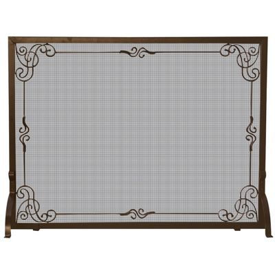Single Panel Bronze Finish Screen With Decorative Scroll BR-S-1615