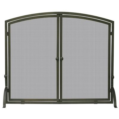 Single Panel Bronze Finish Screen With Doors BR-S-1632