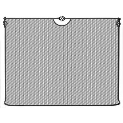 Single Panel Curved Black Wrought Iron Sparkguard BR-S-1074