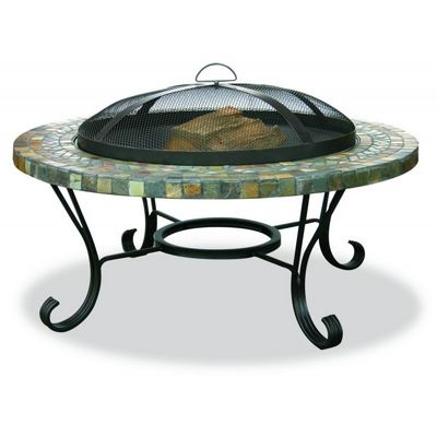 Slate Tile Copper Accent Outdoor Fire Pit 34 inch BRWAD931SP