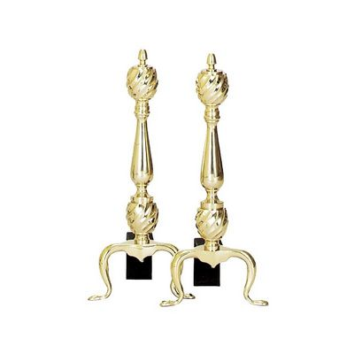 Solid Brass Twist Andirons BR-A-9232