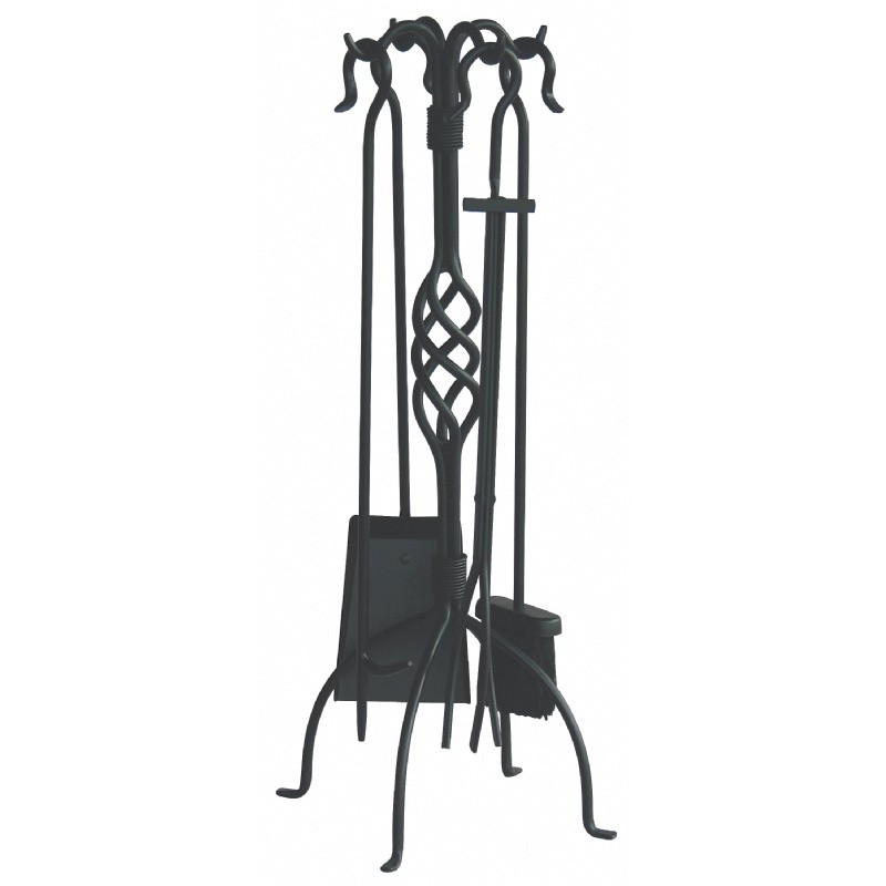 5 Piece Black Wrought Iron Fireset With Center Weave : Fire Pits & Fireplaces