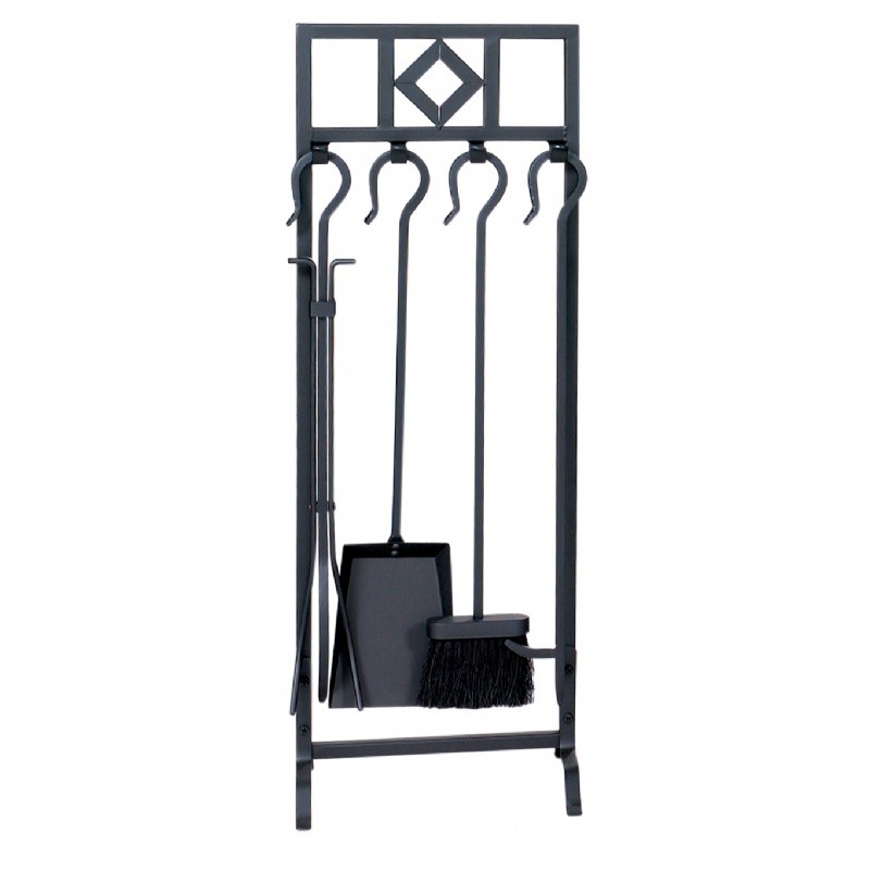 5 Piece Black Wrought Iron In Line Fireset With Diamond Design