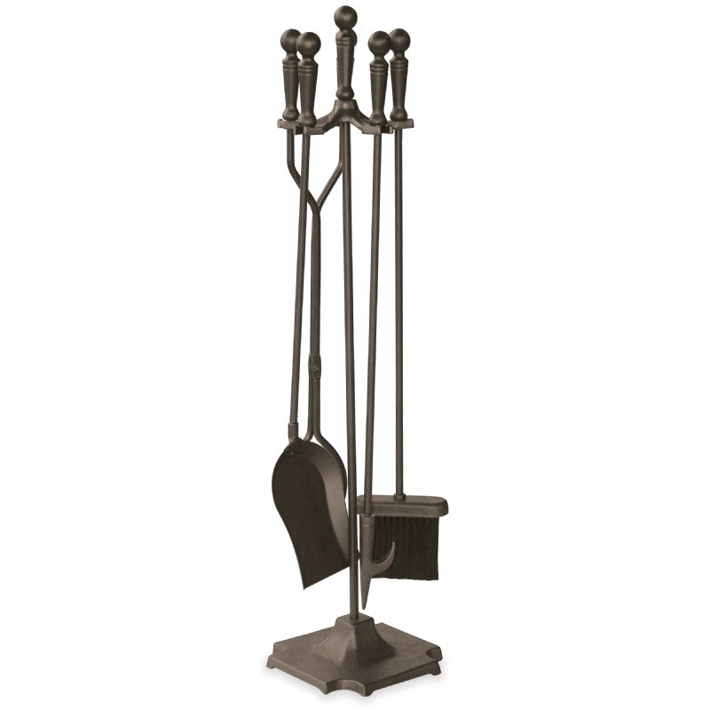5 Piece Bronze Fireset With Ball Handles, Pedestal Base