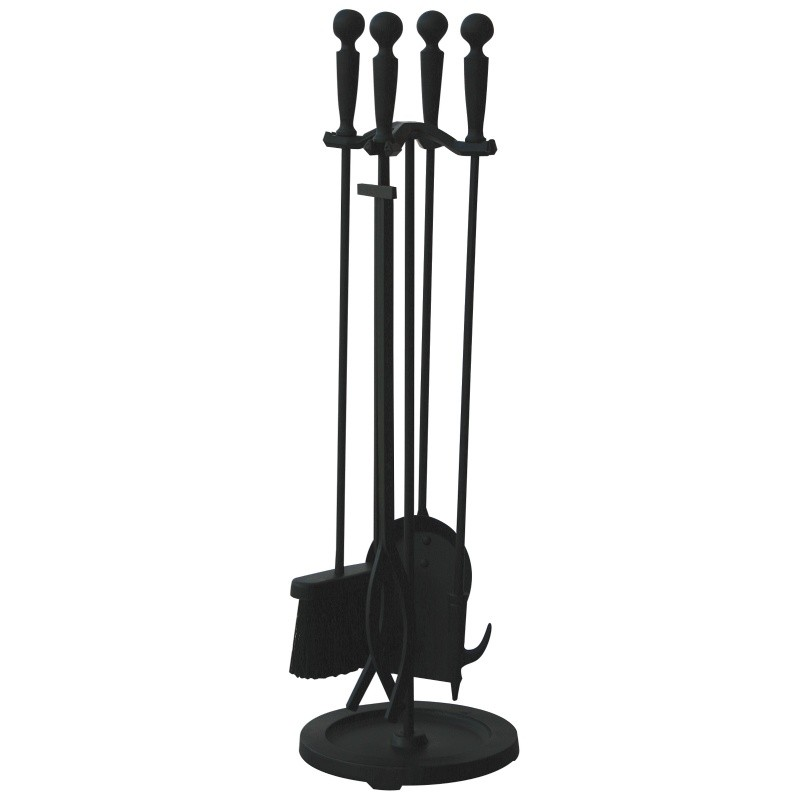 5 Piece Brushed Black Finish Fireset With Double Rods : Fire Pits & Fireplaces