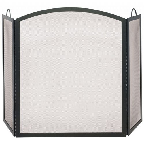 3 Fold Black Wrought Iron Arch Top Large Screen BR-S-1507