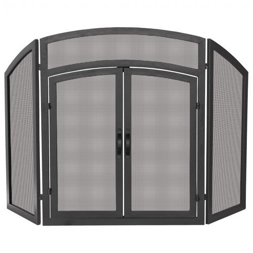 3 Fold Black Wrought Iron Arch Top With Doors BR-S-1178
