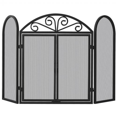 3 Fold Black Wrought Iron Screen With Scrolls BR-S-1184