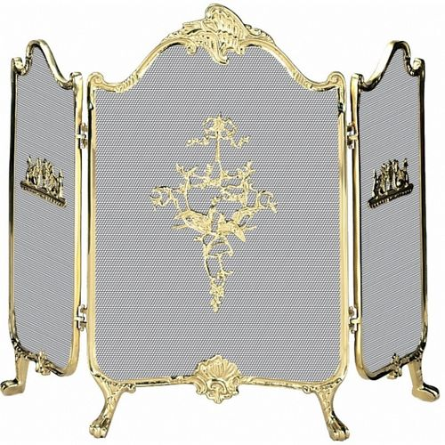 3 Fold Ornate Fully Cast Solid Brass Screen BR-S-9099