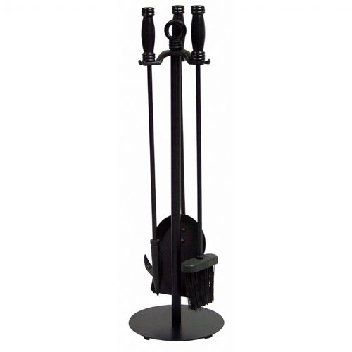 4 Piece Black Wrought Iron Fireset BR-F-1048