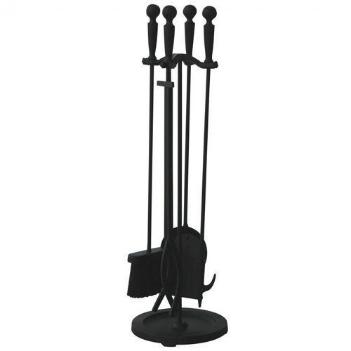 5 Piece Brushed Black Finish Fireset With Double Rods BR-F-1583B