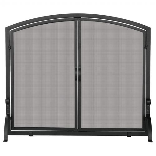 Single Panel Black Wrought Iron Screen With Doors, Medium BR-S-1062