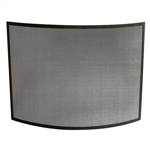Single Panel Curved Black Wrought Iron Screen BR-S-1042