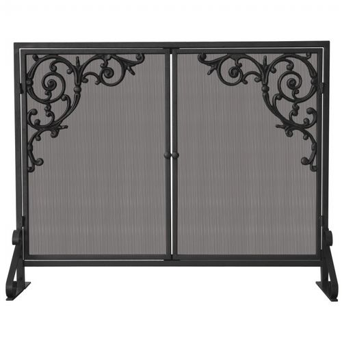 Single Panel Olde World Iron Screen With Doors & Cast Strolls BR-S-1471