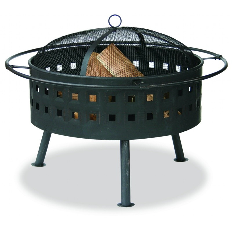 Fire Pit on Wheels: Aged Bronze Outdoor Fire Pit with Lattice Design 32 inch