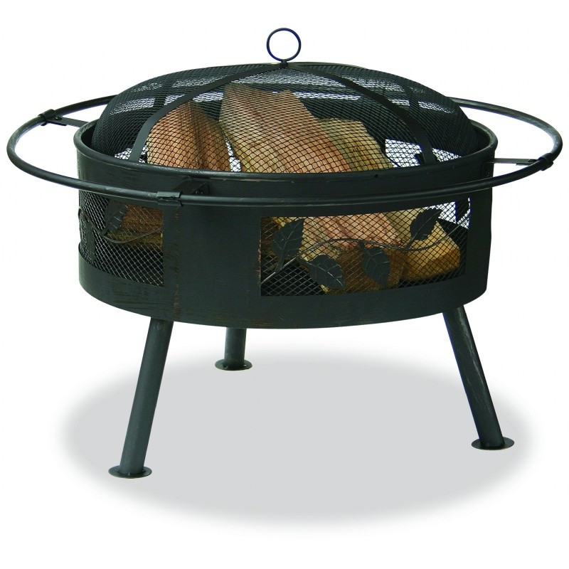 Outdoor Fire Pit: Aged Bronze Outdoor Fire Pit with Leaf Design 30 inch