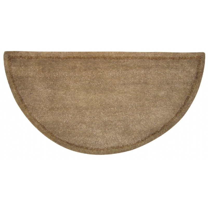 Biege Hand-Tufted 100% Wool Hearth Rug