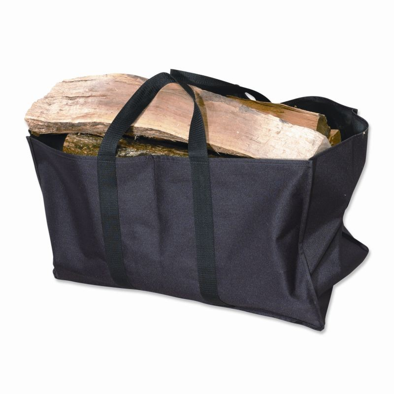 Outdoor Fire Pit Grates: Wood Carrier Black Canvas Tote